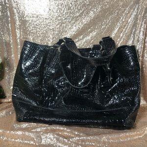 JSimpson black patent leather tote/weekender bag